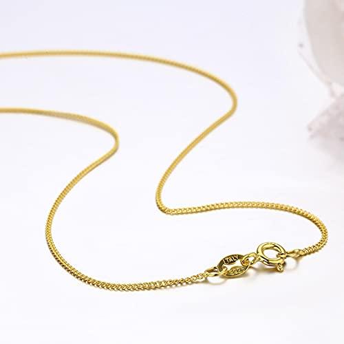 SONGK 35 cm-80 cm Delgado Plata de Ley 925 Color Oro Amarillo Tiny Curb Chain Gargantilla Collares Mujeres Niñas Joyería Kolye Collares Collier