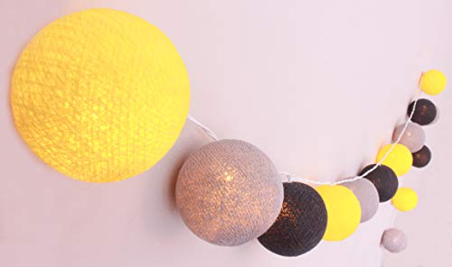Illuminate Your Home lichtsnoer 'Manhattan' met 20 katoenen bollen - Cotton Ball Lights in geel - grijs-zwart, binnen