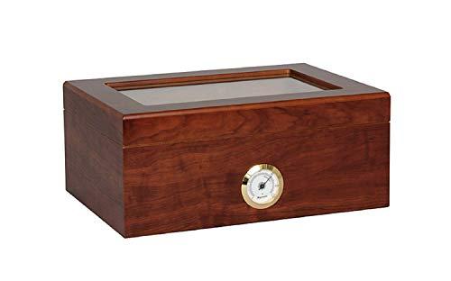 OUTLETISSIMO® Cofanetto Porta 50 Sigari Deumidificatore con Igrometro e vetrina in Cristallo