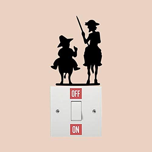 ONETOTOP Don Quijote interesantes calcomanías de interruptores de Vinilo Sala de Familia Vinilo Adhesivo de Pared 5 Piezas