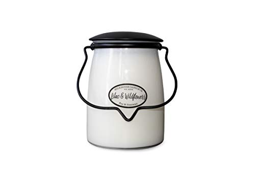 Milkhouse Candle Company, Creamery Scented Soy Candle: Butter Jar Candle, Lilac and Wildflowers, 22-Ounce