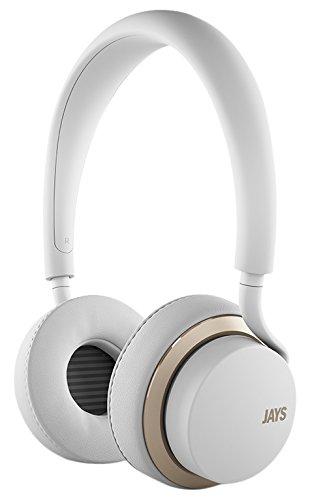 u-Jays Wireless On-Ear Kopfhörer (geräuschunterdrückende Bluetooth Kopfhörer mit integrierter Touchbedienung & Headset 360° Mic, Lange 25 Stunden Akkulaufzeit) Weiß/Gold