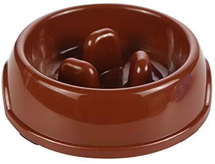 DGHJ Slow Food Dog Bowl, Interactieve Voeder/Anti-Verstikking/Non-slip/Huisdier Voeder/Geschikt voor Kleine en Medium Huisdieren, Koffie