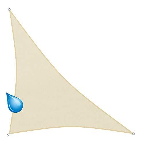 sunprotect 83286 Sonnensegel Hydro, 5 x 5 x 7 m, 90° Grad Dreieck, wasserabweisend, Creme