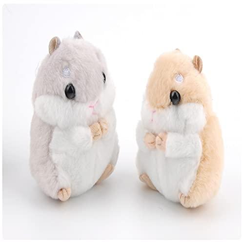 shandianniao Mujeres Hamster Llavero Llavero Lindo Relleno Animal Bolso Colgante para Bolso (Color : Gray+Yellow)