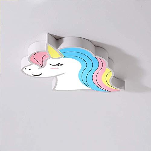 LED luces de los niños, las luces del techo para los niños, las luces decorativas del unicornio del dibujo animado, lámpara de techo de la habitación, regulables con mando a distancia,C,52 * 39 * 5cm