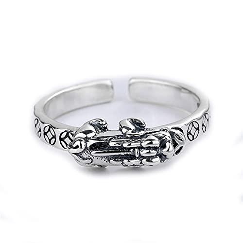 Plata esterlina PiXiu Ring S925 Personalidad Retro Coin Lucky Ring Charms Feng Shui Amulet Wealth Lucky Open Ajustable Anillo Moda Creativa Anillo de joyería Budista