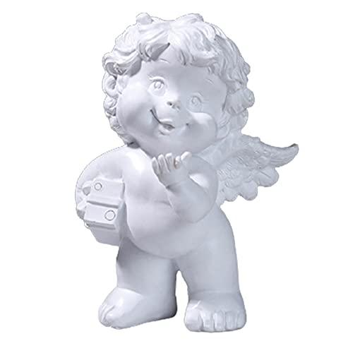 Kaijia Estatua de ángel, decoración de hadas, decoración para el hogar, arte religioso, resina linda espiritual, cómoda decoración para el hogar estante del coche