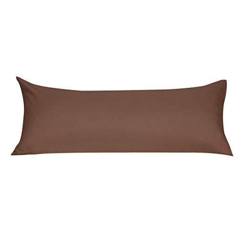 YeVhear Funda de cojín de cuerpo de microfibra suave con cremallera, fundas de almohada largas para almohadas de cuerpo de 90 g/m2, color marrón