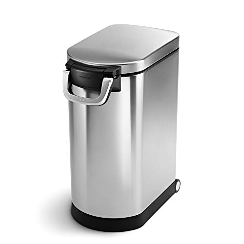 simplehuman 30 Liter, 32 lb / 14.5 kg Large Can, Brushed Stainless Steel pet food storage container, 30-Liter