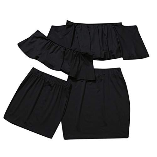 Mamá e Hija Volantes Conjuntos de Ropa Familiar, Mujer y bebé niñas Top y Falda Verano Camiseta sin Tirantes Camisa Corto Tops