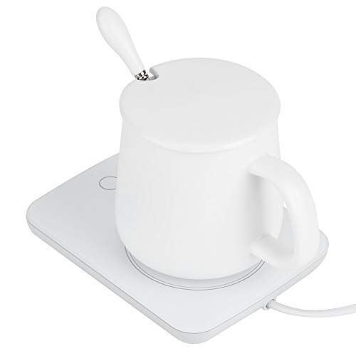 Constant Cup Warmer, 16W 220V 12x9x7.5cm Warmers Cup Heater Made of Ceramic and Acrylic and Aluminum for Water Milk Tea Cn 220v (White)