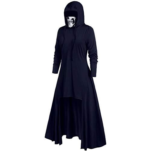 Vrouwen Midi Onregelmatige Hem Hooded Halloween Tops Jurk, Lange Mouw Pure Kleur Renaissace Gotische Asymmetrische Slanke Steampunk Vintage Cocktail Uniform Mantel