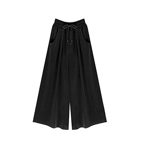 LEEDY Damen Baumwolle Lose Weites Bein Hose Elastische Taille Hosenrock Capri Hose Freizeithose Große Größe