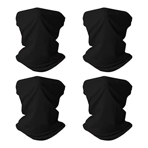 Cooling Neck Gaiter Sun UV Protection Face Mask Scarf Dust Wind Bandana Mask for Fishing Hiking Cycling (4 Pack(Black))