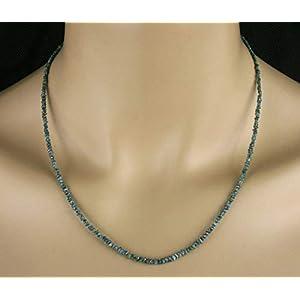Diamant Kette, in blau, Rohdiamanten, 22 ct.