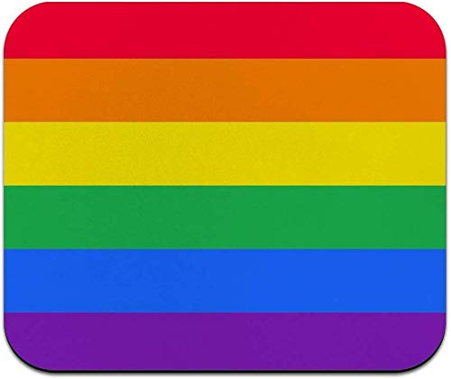 Art Mousepad - Natural Rubber Mouse Pad Printed with Gay Pride Rainbow Flag - Big Size Rectangle Mousepad - 9.8(L)x 11.8(W) inch