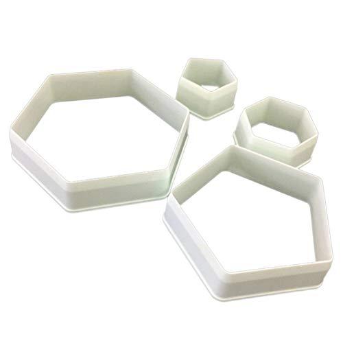 PowerBH Juego de cortadores hexagonales de Cortador de Galletas de fútbol - Tamaño 4 - Decoración de Pasteles DIY Molde gomoso