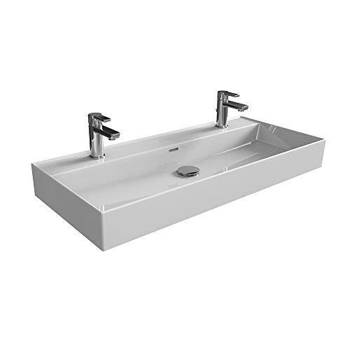 Aqua Bagno | Doppelwaschbecken 100 im modernen Loft Air Design | Eckig mit einem Ablauf | Wand-Waschbecken | Möbelwaschtisch | Waschtisch aus Keramik | Weiß | 1004 x 465 x 130 mm