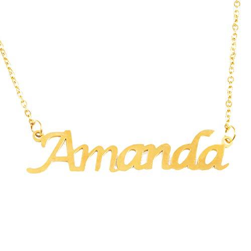Kigu Amanda - Collar chapado en oro de 18 quilates, cadena ajustable...