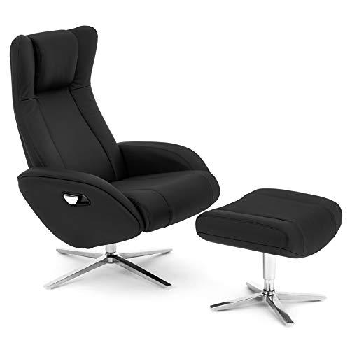 COMIFORT Sillon Relax de Piel con Reposapies Incluido. Modelo Parakeet. Ergonomico con Soporte Lumbar, Funcion Giratoria 360º, reclinable con Autoretorno y Reposacabezas Ajustable, Color Negro