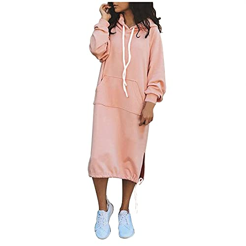 Xiangdanful Damen Langarmhemden Kordelzug Hoodie Tunika Kleid Solid Pullover Sweatshirt Strickkleid Kapuzenkleid Winter Langarm Fleece Kordelzug Pullover Hemd mit Tasche