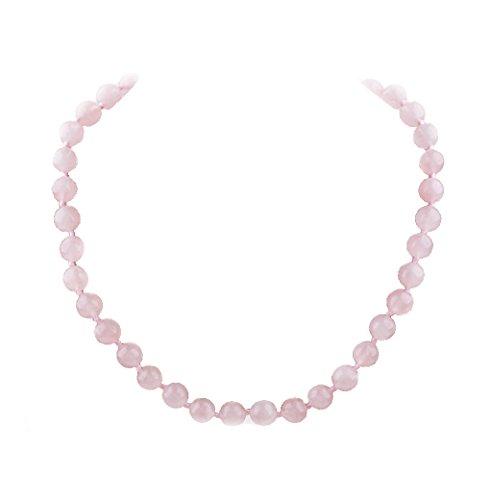 Rosa Rosenquarz Edelstein Halskette für Frauen und Mädchen