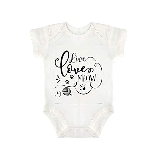 "VinMea Enterizo para bebé con texto en inglés ""Live Love Meow"", divertido para recién nacido, en 5 tamaños, S"