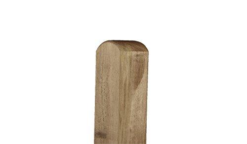 Zaun-Pfosten aus Holz als Befestigungs-Pfähle im Maß 7 x 7 x 90 cm mit Rundkopf zur Montage eines Garten-Zaunes - Material: Kiefer/Fichte, kdi -