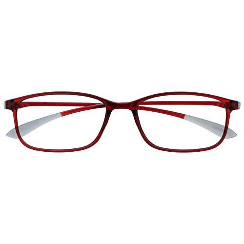 Opulize Ice Súper Ligero Gafas De Lectura Cristal Rojo Mujeres Hombres Bisagras Resorte R61-Z +2,00
