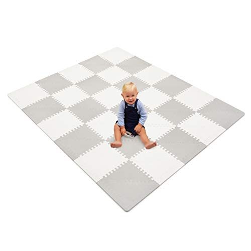 Baby Foam Playmat – Baby Play Mat – Foam Playmat – Designer Foam Play Mat – Playmat Baby – Extra Thick Grey and White Interlocking Tiles – Large Gray Floor Mats for Babies and Infants