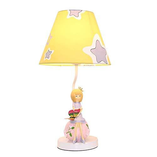 Iluminación de decoración del hogar/Elegante Princesa Lámpara de Mesa Dormitorio Lámpara de Noche Creativo Pastoral Boda Nudo Linda cálida niña Lámpara Amarillo + Blanco