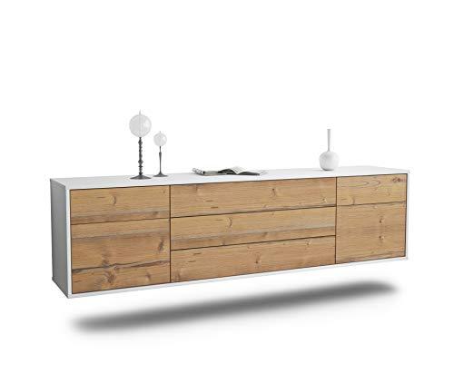 Dekati Lowboard Orlando hängend (180x49x35cm) Korpus Weiss matt | Front Holz-Design Pinie | Push-to-Open