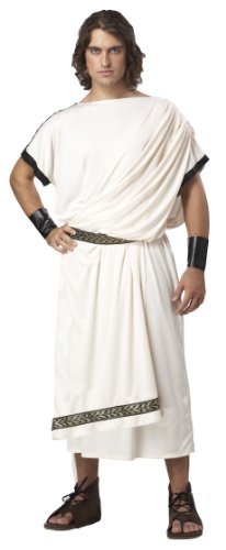 California Costumes Men's Deluxe Classic Toga Set, White, ONE SIZE