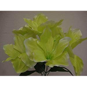 16″Inch Bouquet 2 Bushes Green Amaryllis Artificial Silk Flowers