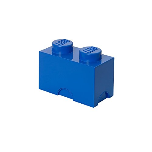 Lego Storage Brick with 2 Knobs, in Bright Blue