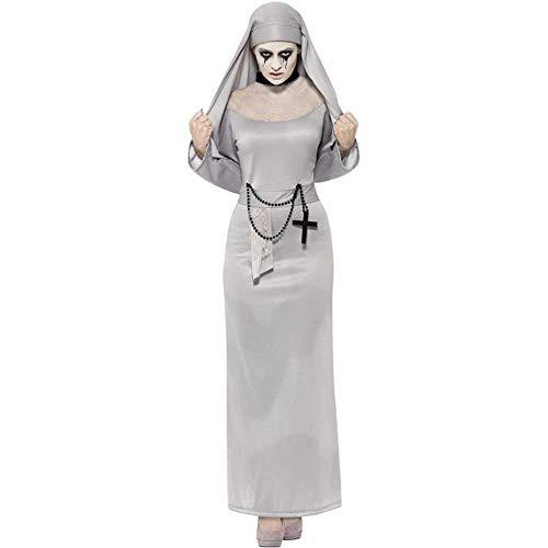 Fashion-Cos1 Horror Zombie Silber Arabische Kleidung Sexy Katholischer Mönch Cosplay Kleid Halloween Kostüme Nonne Kostüm