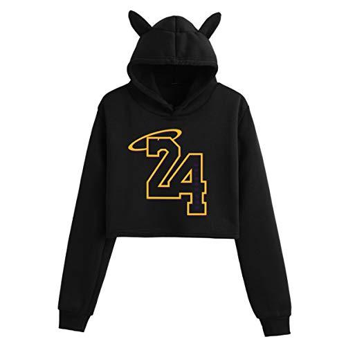 JX-PEP Vrouwen Lange Mouwen Trui Los Angeles Lakers Cat Oor Print Hoodie Jeugd Hoodie Sport Training Tops Fitness Hooded Sweatshirt