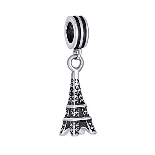 París Eiffel Torre Landmark vacaciones colgante encanto cuenta para las mujeres para adolescentes 925 plata de ley se adapta a la pulsera europea