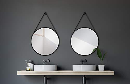Talos Aufhängegurt in Lederoptik-Spiegel rund mit hochwertigen Aluminiumrahmen, Schwarz Matt, Ø 50 cm