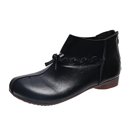 QIUTIANQ Zapatos De Mujer De Moda Botines De Suela Blanda De Tacón Grueso con Punta Redonda Sólida Tacones Altos Gruesos con Cremallera Retro Casual Cómodo Y Transpirable (Negro, 39.5)