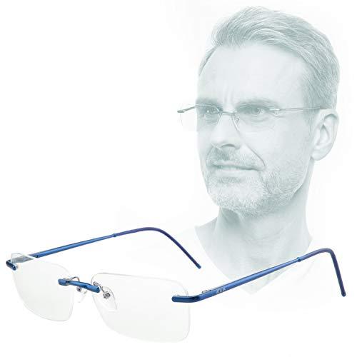 Edison & King Lesebrille Free randlose Brille aus Aluminium mit Federscharnieren - extra leicht (Blau, 1,00 dpt)