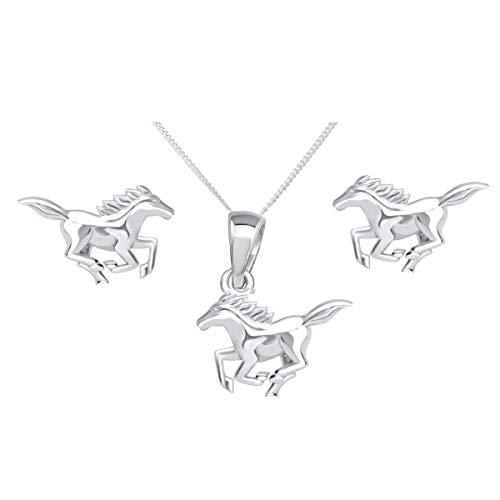 FIVE-D oorbellen hanger met ketting paard pony van 925 sterling zilver in sieradenetui (zilver - kettinglengte: 40 cm)