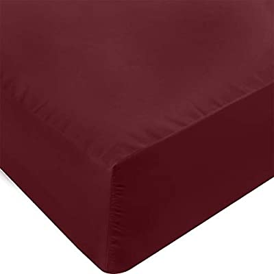 Utopia Bedding Fitted Sheet - Soft Brushed Microfiber - Deep Pockets, Shrinkage and Fade Resistant - Easy Care - 1 Fitted Sheet Only (Queen, Burgundy)