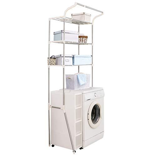 BAOYOUNI Estante de lavandería ajustable sobre inodoro, lavadora, secadora, organizador de baño de pie con 3 niveles para ahorrar espacio, color marfil