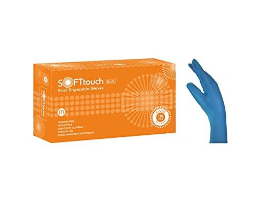 Tegcare Vinyl Handschuhe | Puderfrei | AQL 1.5 | 100 Stück (Blau, Medium)