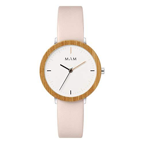 Mam relojes ferra Damen Uhr analog Japanisches Quarzwerk mit Leder Armband 631