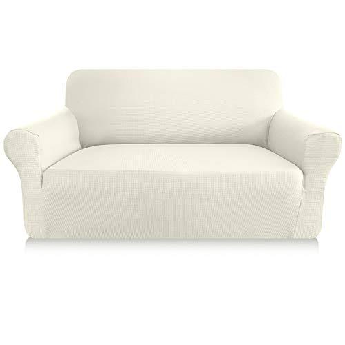 Granbest Sofabezug, dick, 1 Stück, dehnbar, 2-Sitzer, rutschfest, für Sofa, Möbelschutz, Stoff Spandex Jacquard (2-Sitzer, weiß)
