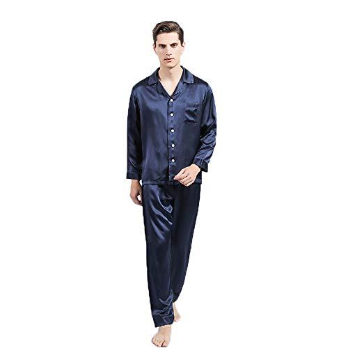 OLESILK Pijama Leche Seda Natural 22 Momme Hombre, Masculino de Camisón Suave, Hombre Camisones Azul Marino L ✅