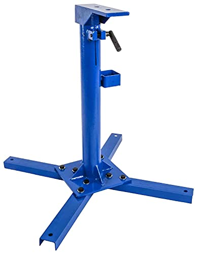 JEGS Adjustable Height Tool Stand for Sheet Metal Shrinker/Stretcher | Adjusts From 22 3/4 Inches to 37 3/4 Inches High | Shrinker/Stretcher Mounting: 2 1/2 Inches Center-To-Center | Blue Steel